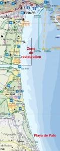 Carte de playa de pals - zones naturelles