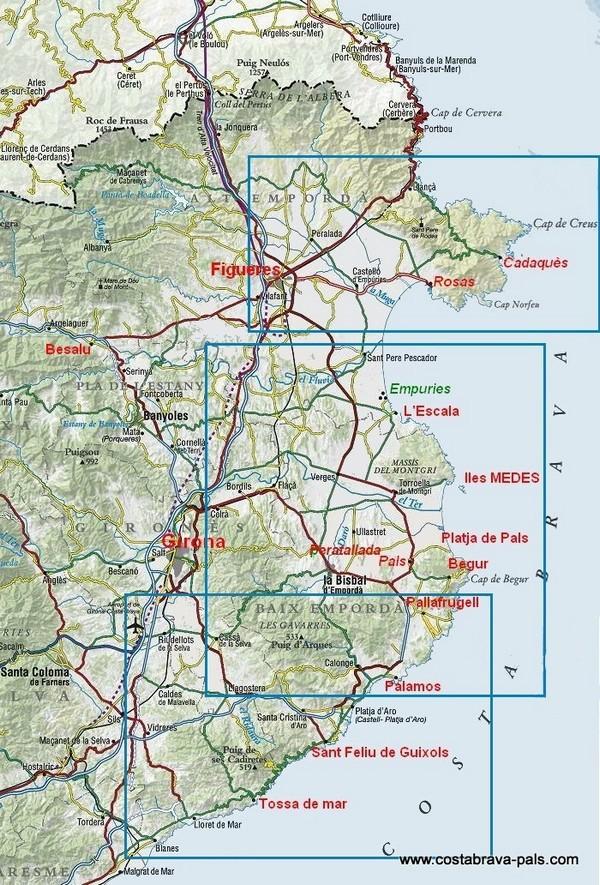 General Map Costa Brava
