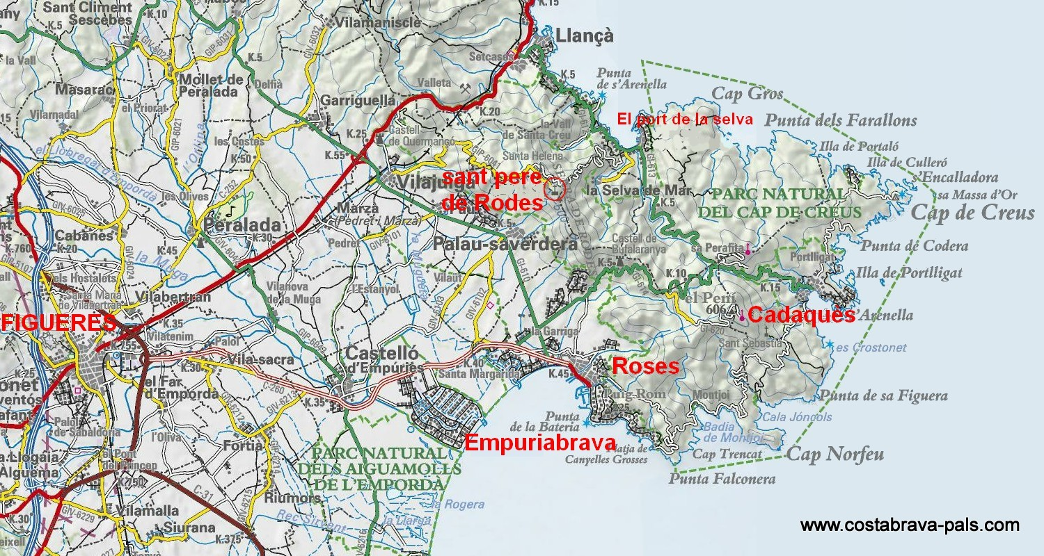carte costa brava nord - Carte de l'Escala