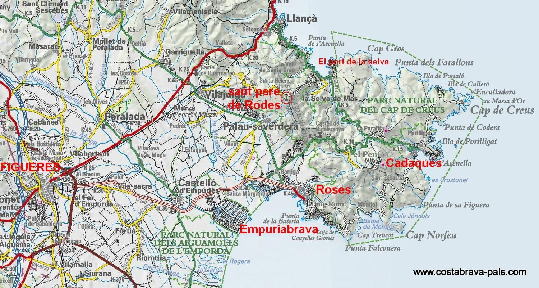 Carte Rosas Espagne au nord de la Costa Brava
