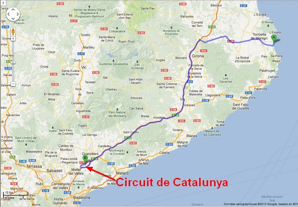 Carte circuit de Catalunya - Costa Brava