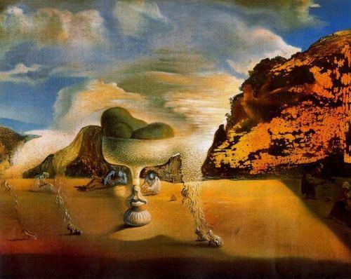 Dali-Afghan invisible avec apparition sur la plage du visage de García Lorca en forme de compotier aux trois figures