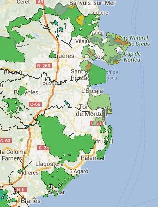 Carte des espaces naturels protégés Costa Brava