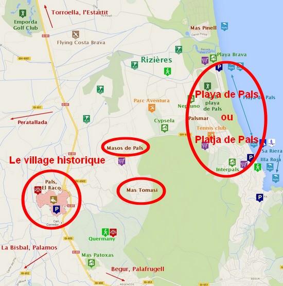 carte de pals costa Brava Espagne situation