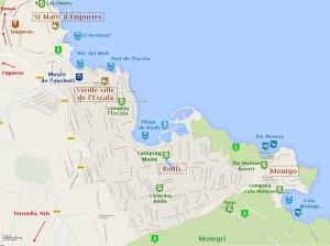 Carte L' Escala en Espagne sur la Costa Brava détaillée