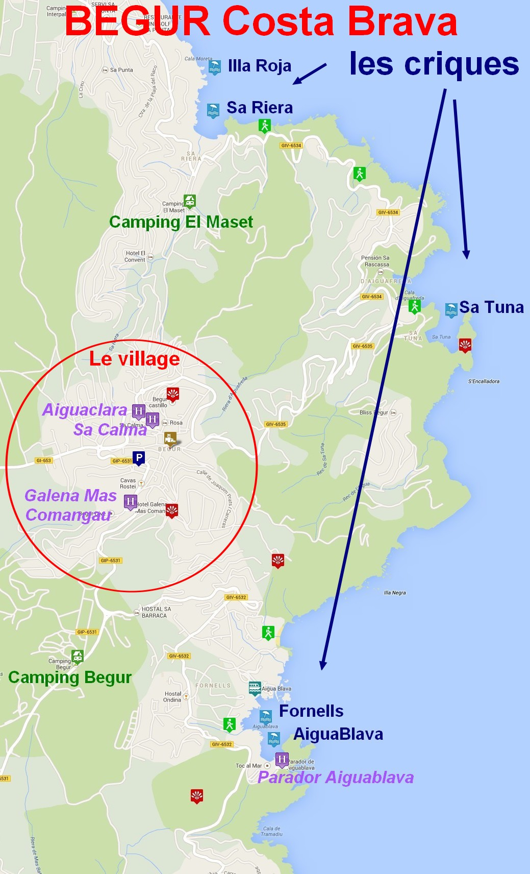 Carte Espagne Costa Brava Blanes.Carte Begur Espagne Costa Brava Criques Hotels Et Campings