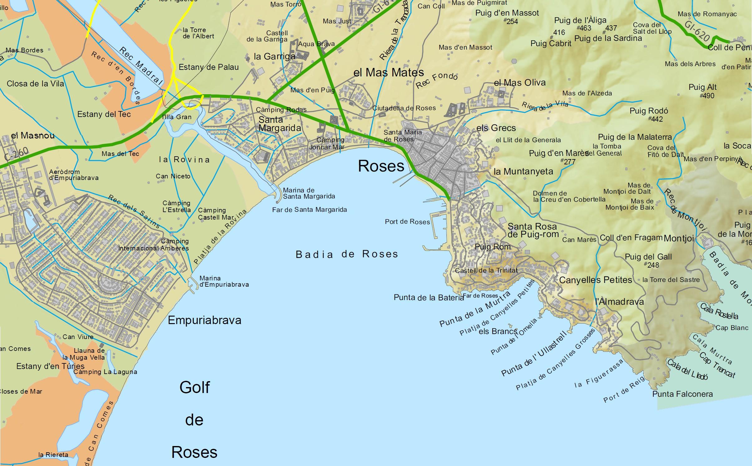 Carte Espagne Avec Plages.Carte Rosas Espagne Au Nord De La Costa Brava
