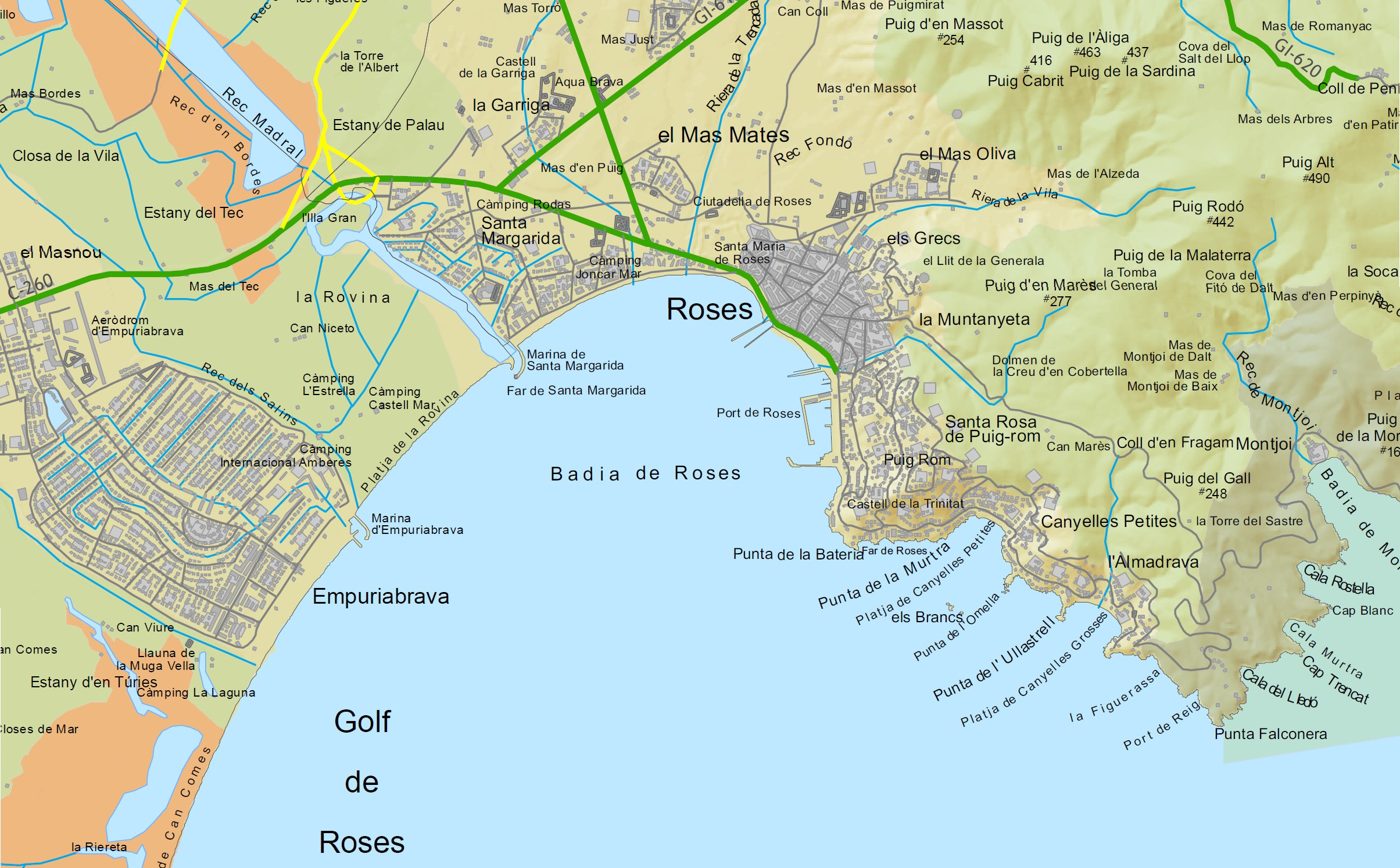 Carte rosas espagne au nord de la costa brava - Office de tourisme rosas costa brava ...