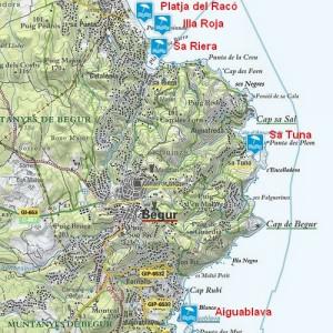 Carte des plages de Begur
