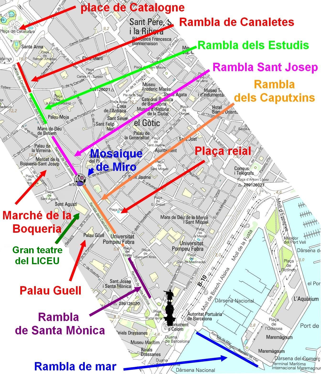 Carte Barcelone Las Ramblas.La Rambla De Barcelone