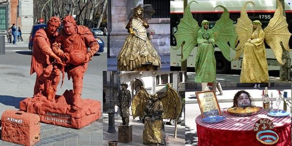 statues rambla barcelona - La rambla de Barcelone