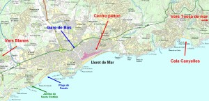 Carte LLoret de mar costa brava