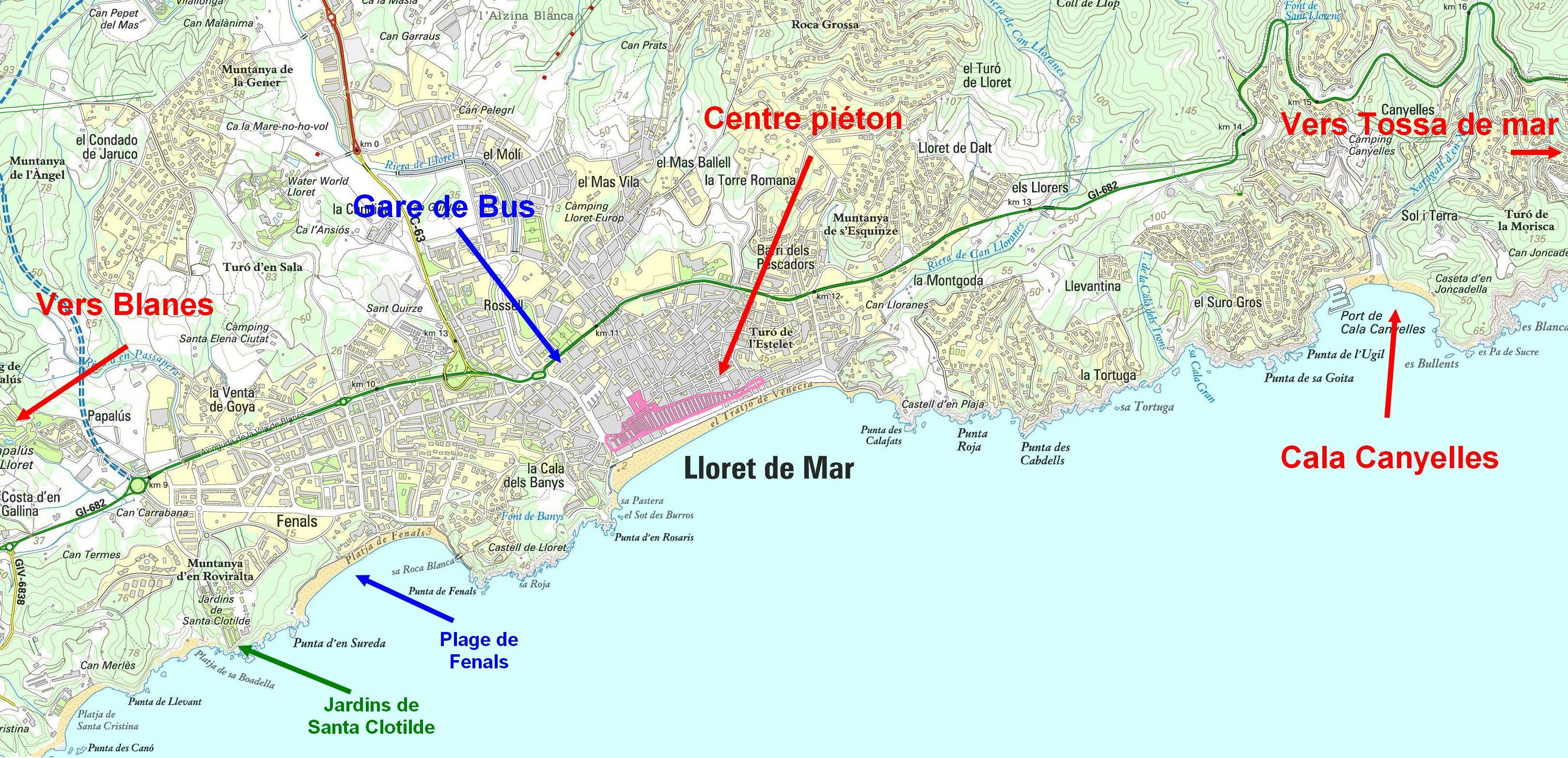 lloret de mar carte Carte LLoret de Mar et infos pratiques pour super vacances!
