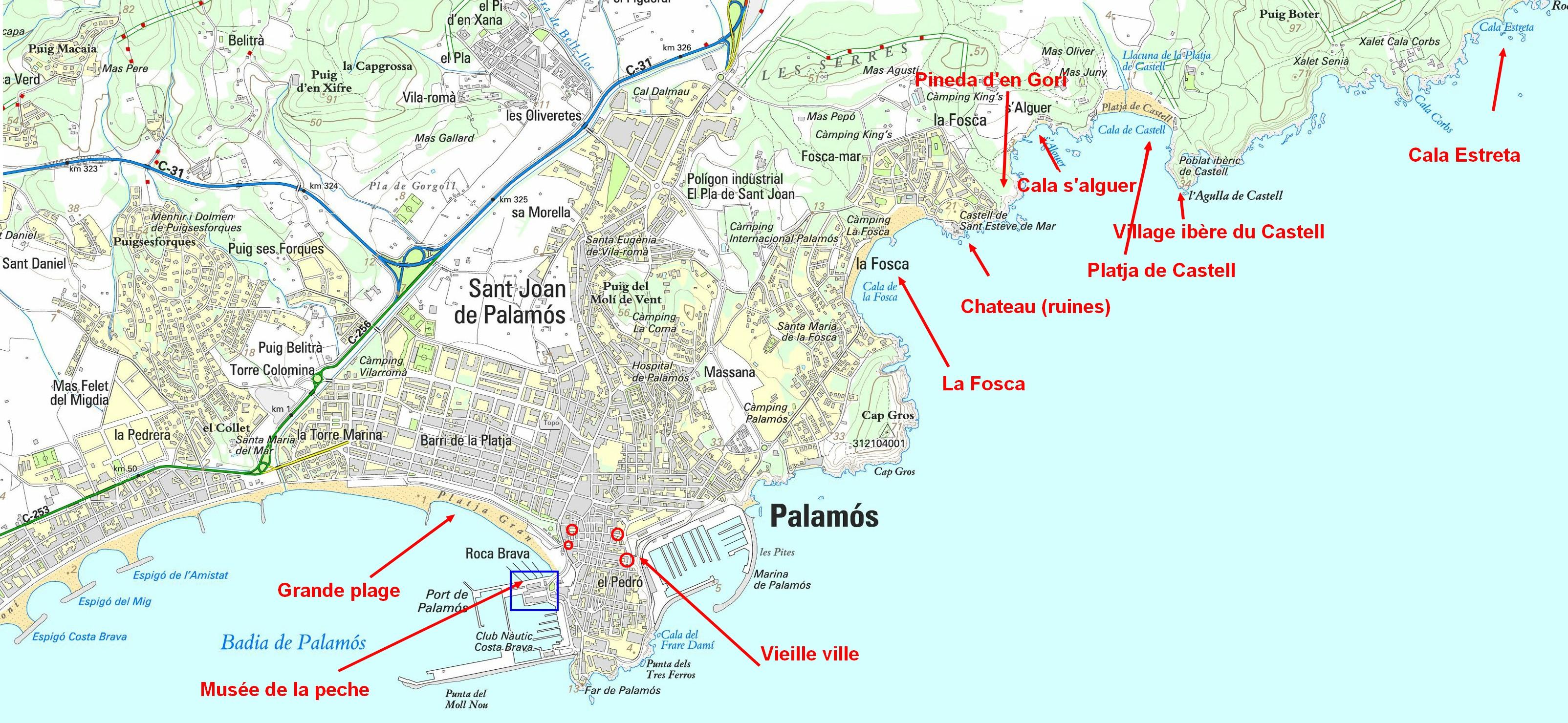 Carte Palamos Espagne, port, chemin de ronde, plages, criques