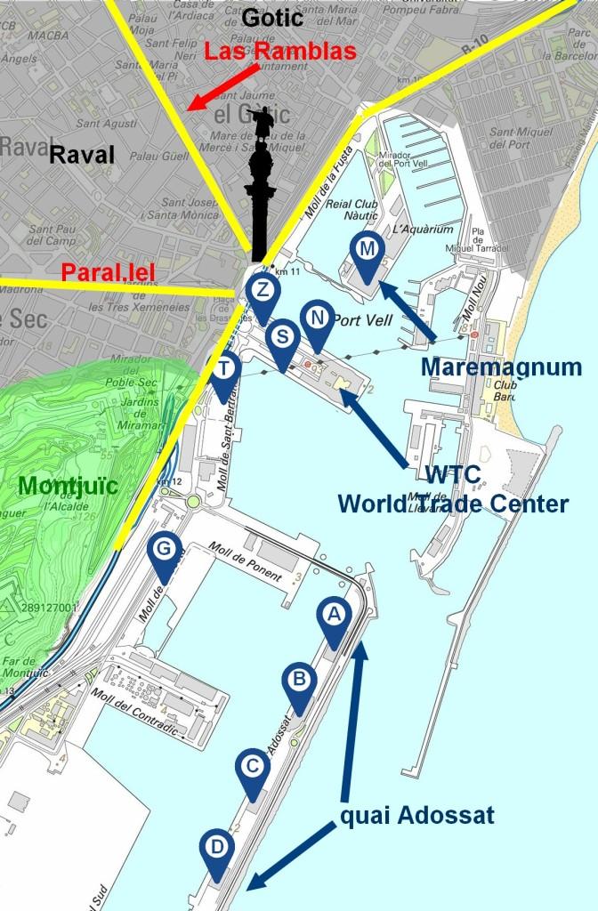 plan port de Barcelone croisière