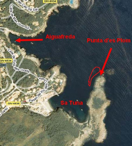 Carte de plongée Costa Brava Begur Punta d'Es Plom