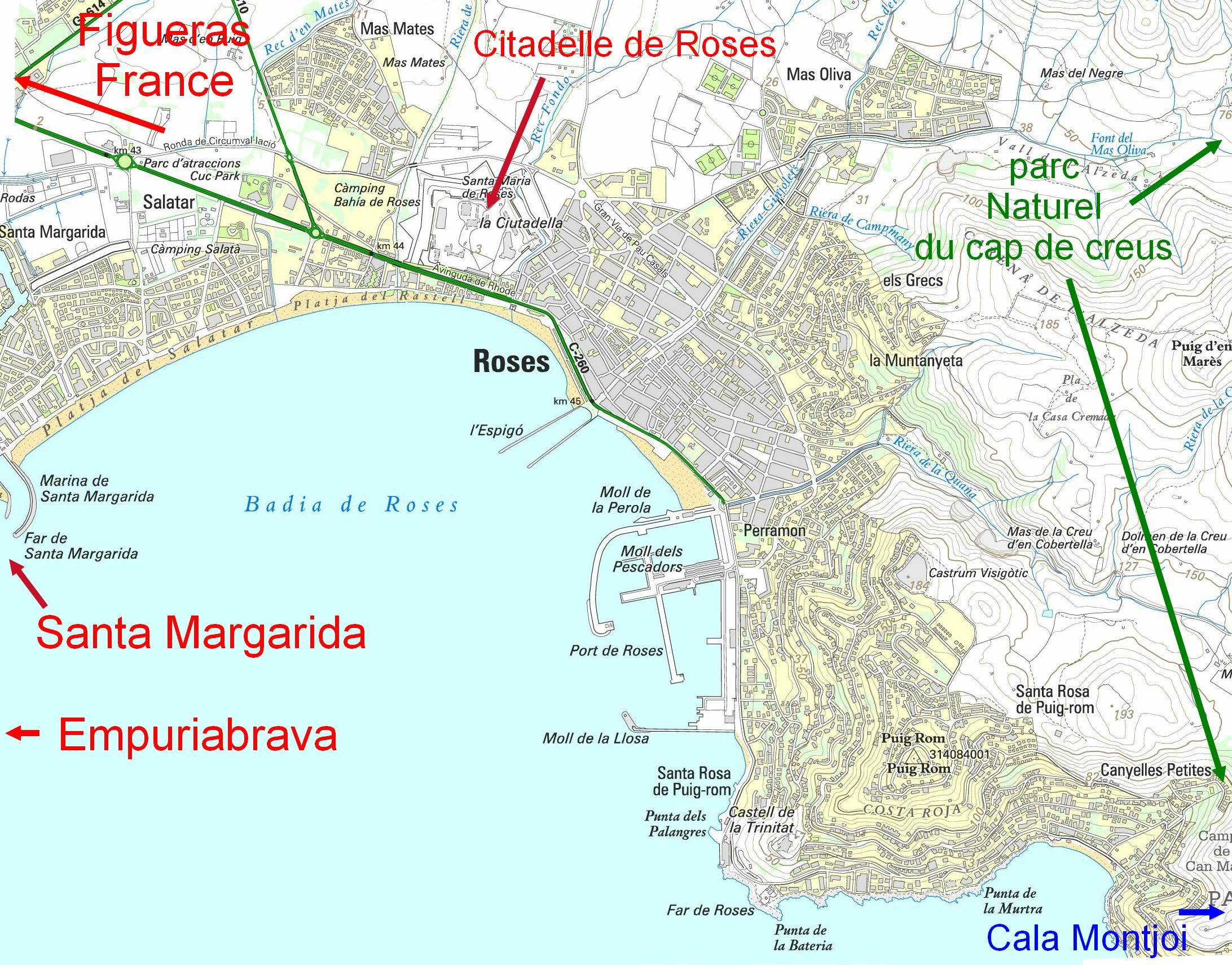 Carte De La Ville De Rosas