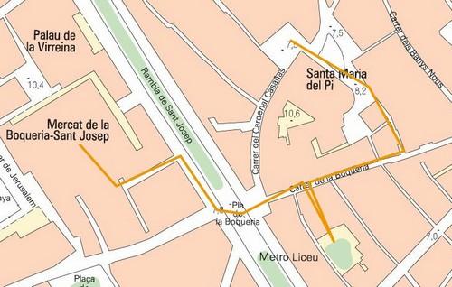 carte Visiter Barcelone autour du marché de la Boqueria