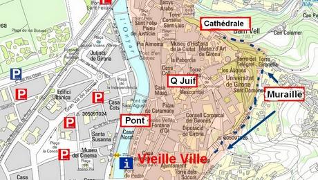 Plan de Gérone, carte générale et centre ville historique