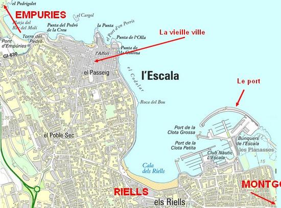 Carte de l'Escala Espagne, pour préparer vos vacances sur la Costa