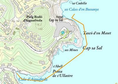 Carte plongée entre Cap sa sal et Aiguafreda begur