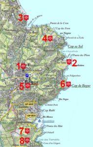 carte des Belvédères de Begur
