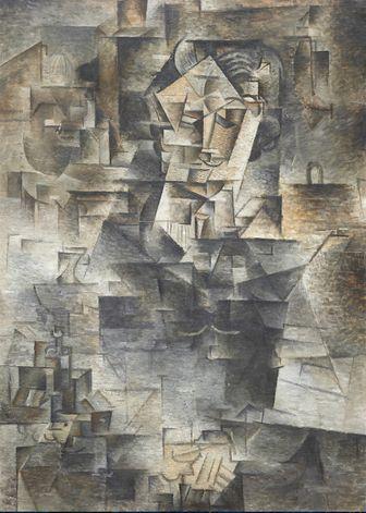 Exposition Picasso Portraits à Barcelone portrait cubiste de 1910 du marchand d'art  Daniel-Henry Kahnweiler