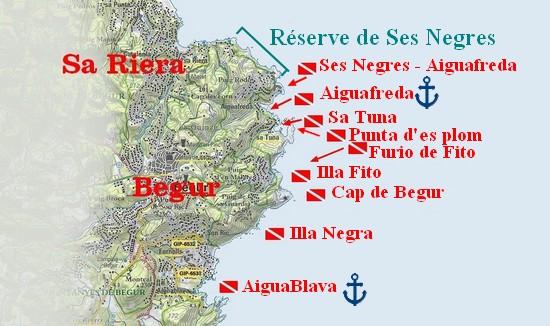 plongée à Begur - Costa Brava - les sites de plongée