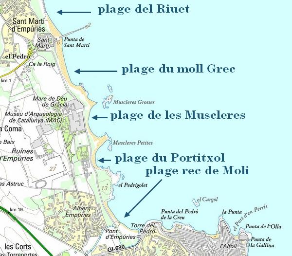 L'Escala plage - carte des plages d'empuries à L'escala