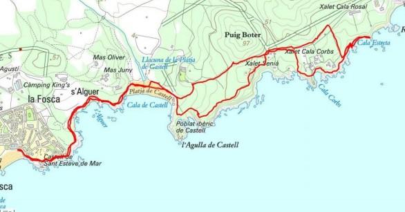 chemin de ronde Platja de castell - cala estreta