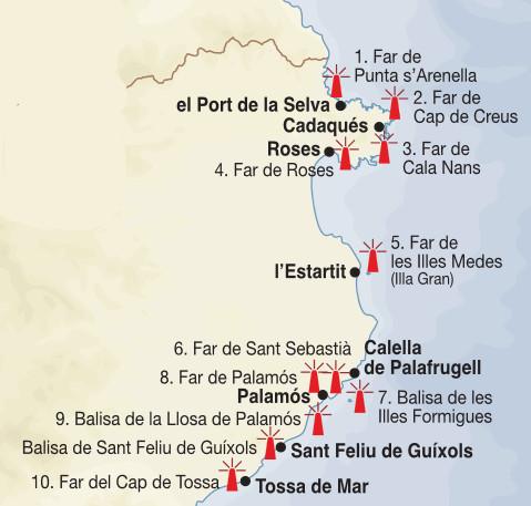 carte des phares de la costa Brava