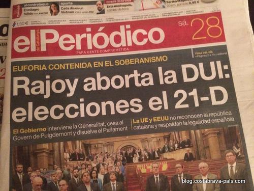 crise de l'indépendance en Catalogne - annonce des élections du 2 décembre