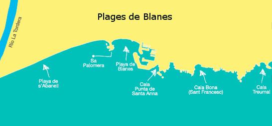 Carte des plages de Blanes