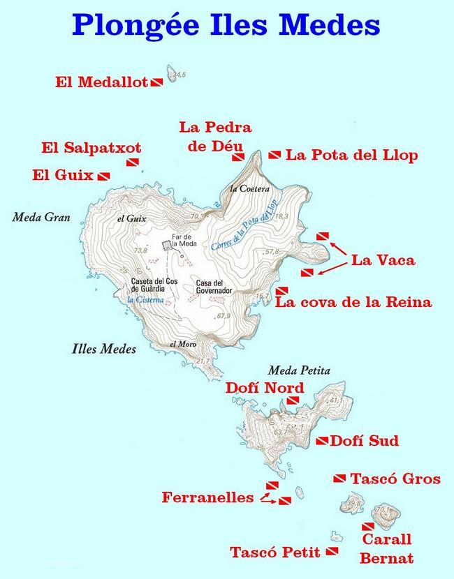carte des sites de plongée aux iles Medes