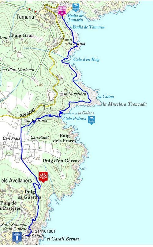 carte chemin de ronde Tamariu – Sant Sebastia