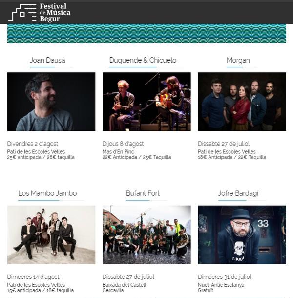 Festival Begur musique 2019, Festivals Costa Brava 2019