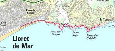 Carte chemin de ronde à Lloret de Mar
