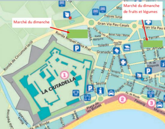 plan du marché à Rosas Costa Brava
