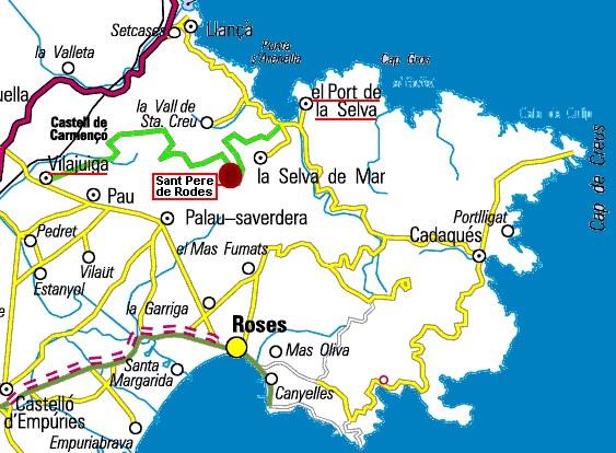 plan d'acces au monastere sant pere de rodes